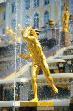 peterhof: golden statues at Peterhof