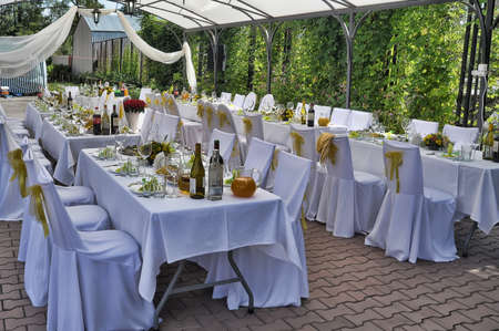 formal dinner party: Fancy table set for a wedding lucnh