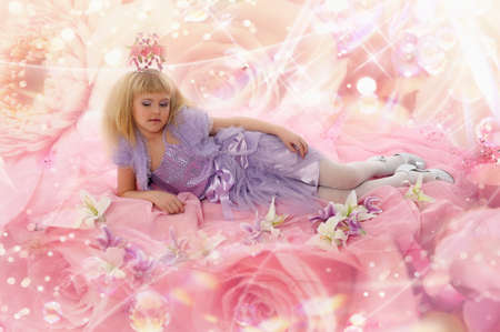 girl on a pink, princess, fairy tale photo