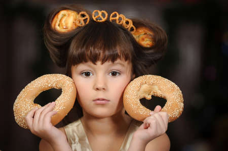 girl with bagels photo