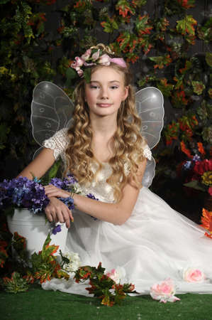 young fairy of flowers photo