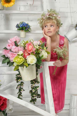 young flower girl Stock Photo - 18811381