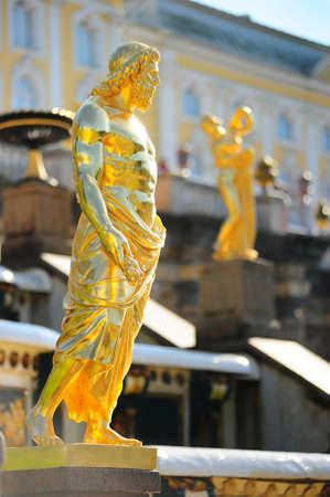 peterhof: golden statues of the Peterhof Stock Photo