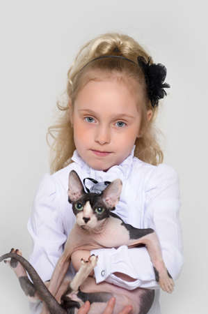 Little girl with cat pet  photo