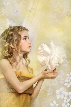 maquillaje fantasia: chica de oro Foto de archivo