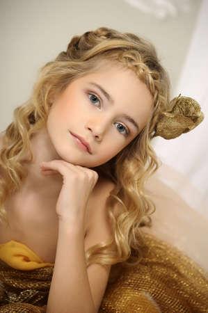 glowing skin: girl in gold