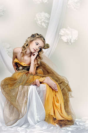 colorful dress: girl in gold