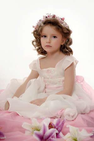 teddy wreath: Portrait of beautiful little girl