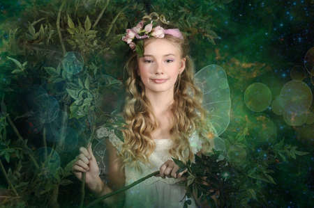 Girl in fairy forest Stock Photo