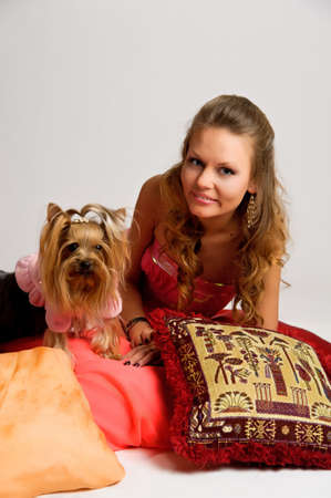 girl with yorkshire terrier photo