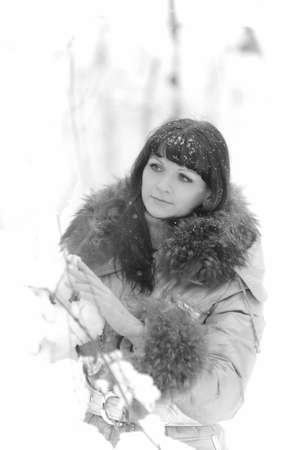 The young woman in winter park photo
