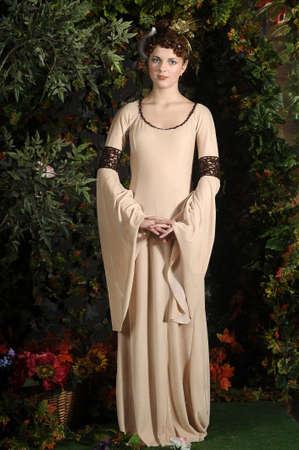 crossbow: girl in medieval dress