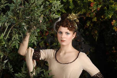 tree dweller: girl in medieval dress