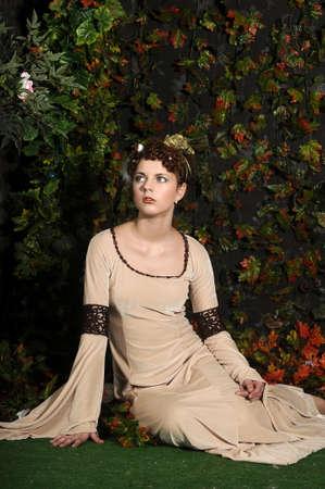 middeleeuwse jurk: meisje in middeleeuwse kleding Stockfoto