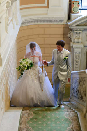 the couple climbing the stairs photo