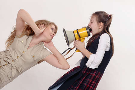 girl screaming in speaker Stock Photo - 19016039