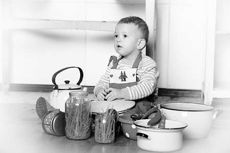 little boy in the kitchen photo