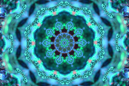 kaleidoscope: green with a blue circular pattern