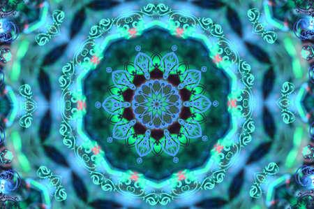 verde con un patrón circular azul
