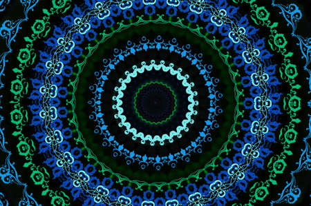 circular blue oriental ornament photo