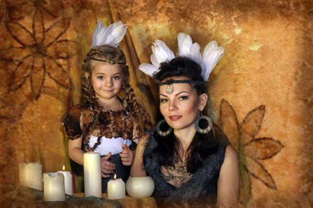 mother and daughter in costumes of American Indians Stock Photo - 18993760