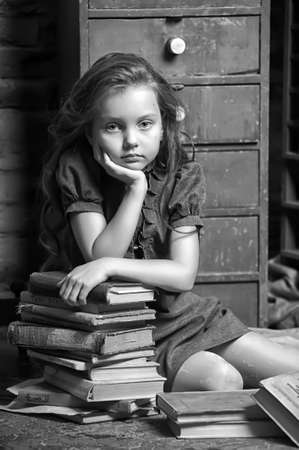 girl with a book in the old library Stock Photo - 18997709