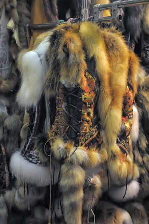 Russian fur vest with ornament photo