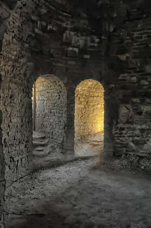 apses: arches in the medieval fortress Stock Photo