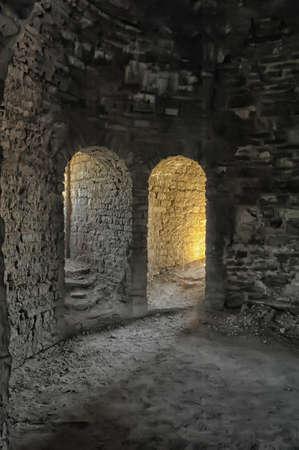 bogen in de middeleeuwse burcht Stockfoto