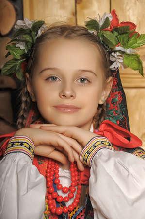 national costume: Polish girl in national costume Krakow