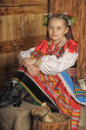 Polish girl in national costume Krakow photo
