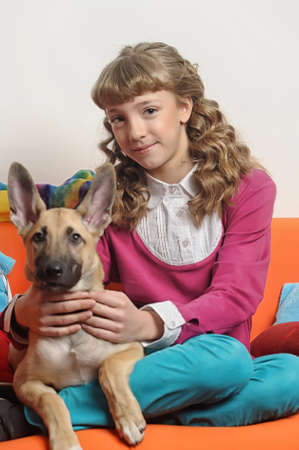 teen girl with a puppy photo