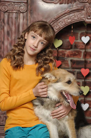 girl with dog photo