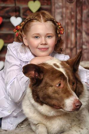 girl with big dog photo