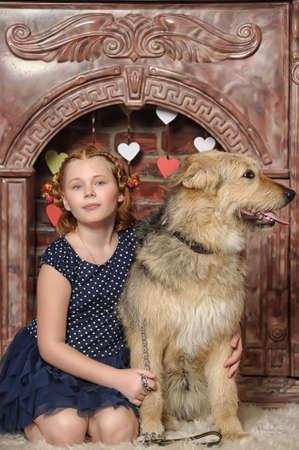 girl with big dog Stock Photo - 19219806