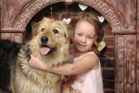 girl with big dog Banco de Imagens