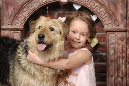 girl with big dog Standard-Bild