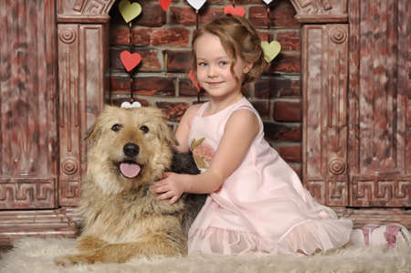 girl with big dog Stock Photo