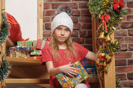 and guessing: Christmas portrait of a girl