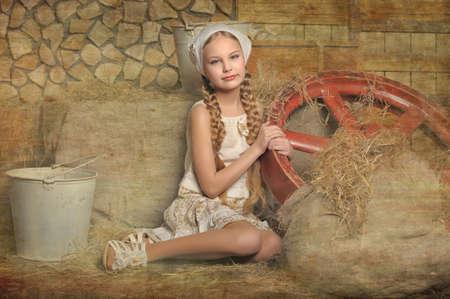 stílus: lány egy rusztikus stílusban Stock fotó