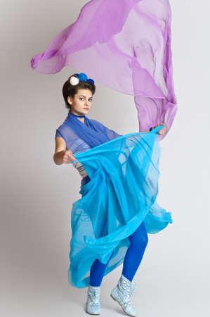 Beautiful girl in blue dress Stock Photo - 20018932