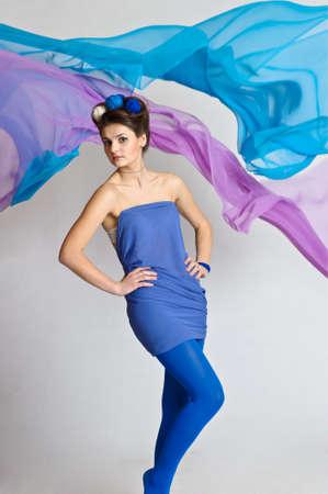 girl model posing in blue Stock Photo - 20018937