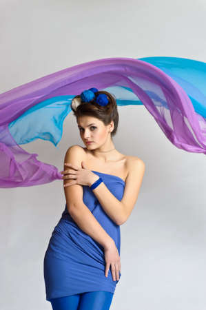 girl model posing in blue Stock Photo - 20018942