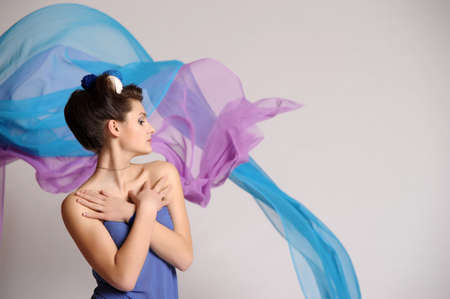 girl model posing in blue Stock Photo - 20018928