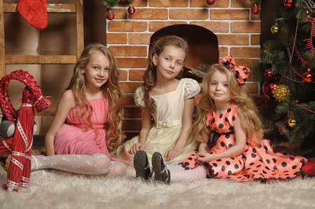 Three girls are ready for the celebration of the new year
