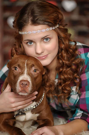 teen girl with Pit Bull photo