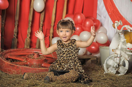 throw up: little girl in a retro circus