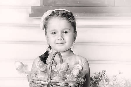 Girl with Easter basket  photo