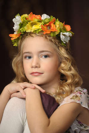 girl with a wreath of flowers on her head Stock Photo - 19578964