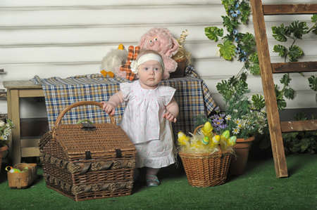 Little Girl with Easter decorations photo
